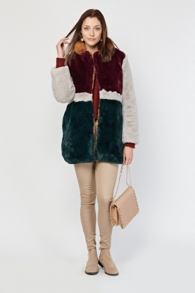 Colour Block Faux Fur Coat