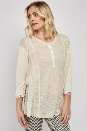 Embroidered Lace Tunic Blouse
