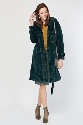 Faux Fur Belted Green Coat