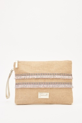Fringed Trim Straw Cosmetic Bag