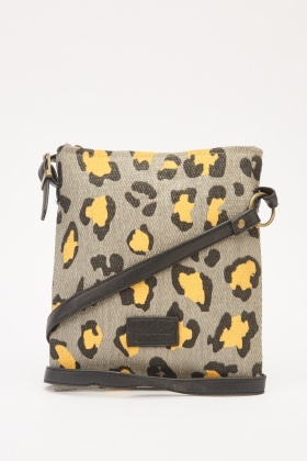 Leopard Print Weaved Cross-Body Bag