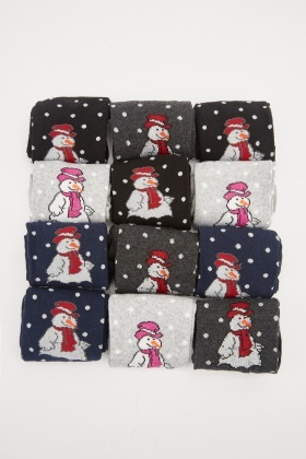 Pack Of 12 Snowman Printed Socks