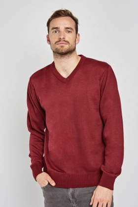 Ribbed Hem V-Neck Jumper