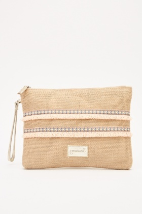 Textured Straw Cosmetic Bag