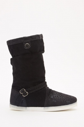 Brushed Suedette Contrasted Boots