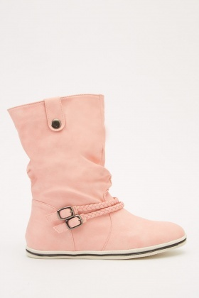 Buckle Detail Ruched Boots