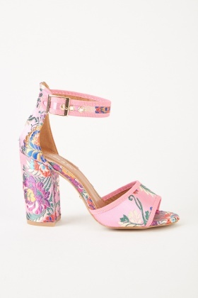 Embroidered Block Heeled Sandals