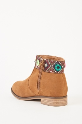 Ethnic Embroidered Ankle Boots