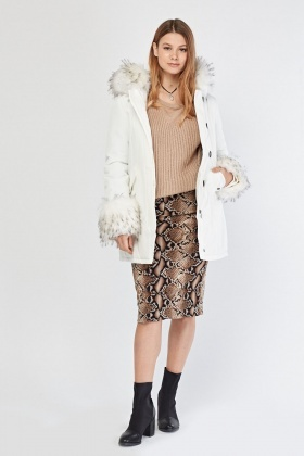 Faux Fur Long Parka Coat