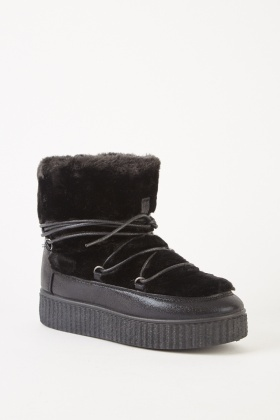 Faux Fur Trimmed Winter Boots