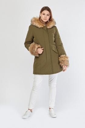 Hooded Khaki Parka Jacket