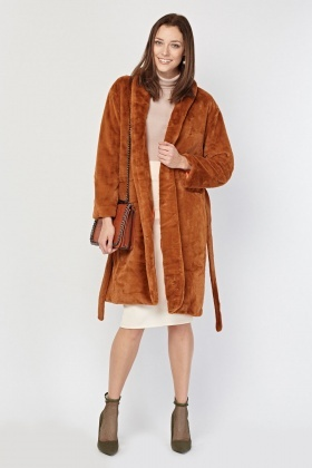 Lapel Front Camel Faux Fur Coat