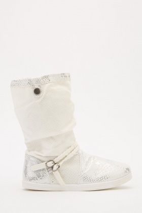 Metallic Contrast Ruched Boots