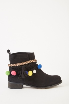 Suedette Pom-Pom Ankle Boots