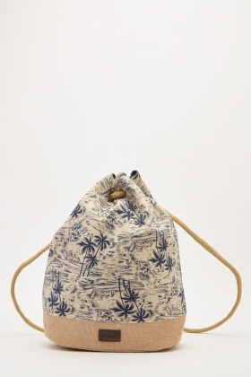 Tropical Palm Print Drawstring Bag