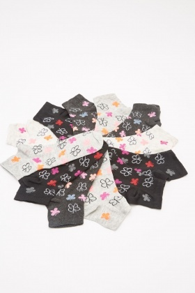 12 Pack Of Butterfly Printed Socks
