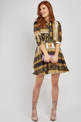 Baroque Printed Frilly Shirt Dress