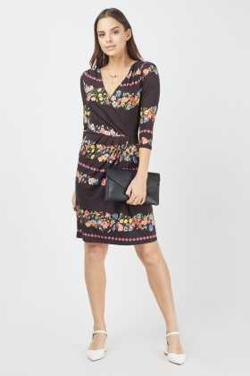 Botanical Floral Print Wrap Dress