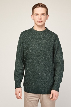 Diamond Patterned Textured Knit Jumper