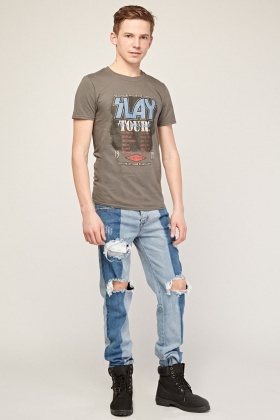 Distressed Contrasted Skinny Jeans