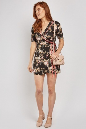 Floral Printed Mini Wrap Dress