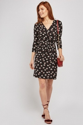 Flower Print Midi Wrap Dress