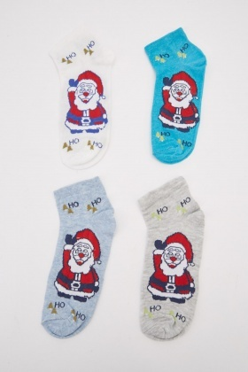 Pack Of 12 Mixed Printed Ankle Socks