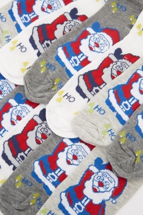 Pack Of 12 Santa Printed Socks