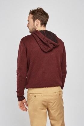 Pouch Pocket Front Textured Hoodie
