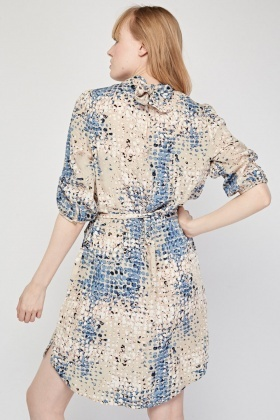 Speckled Printed Shift Dress