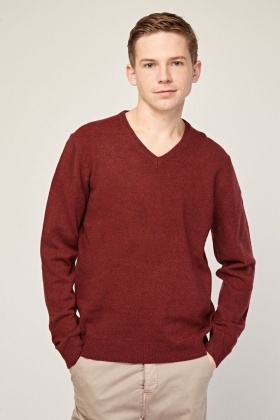V-Neck Wine Knit Jumper