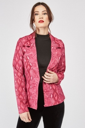 Double Breasted Snake-Skin Print Blazer