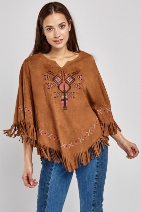 Ethnic Embroidered Suedette Poncho