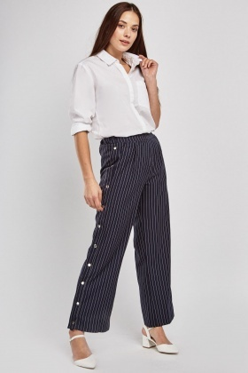 Poppers Side Pin-Striped Trousers