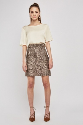 Snake Printed Mini Skirt