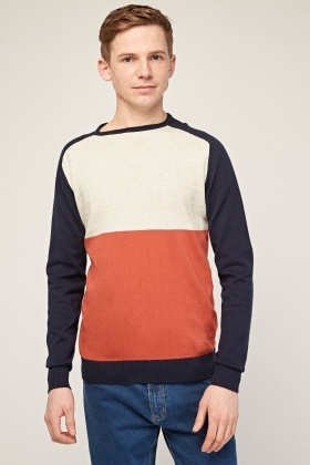 Colour Block Casual Knit Jumper