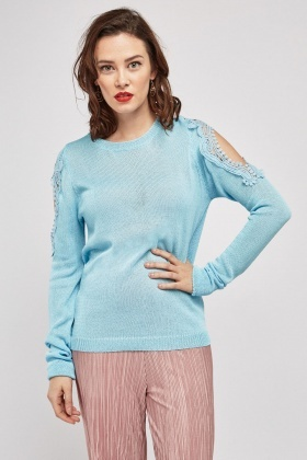Crochet  Cut Out Sleeve Knit Jumper