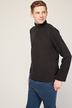 High Neck Black Fleece Pullover