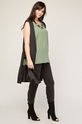 Sleeveless Cut Out Side Kimono