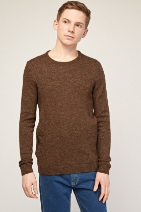 Speckled Ribbed Hem Knit Jumper