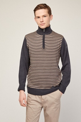 Zip Up Striped Knit Jumper