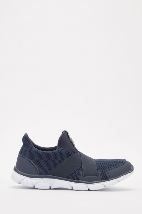 Elastic Cross-Strap Knit Trainers