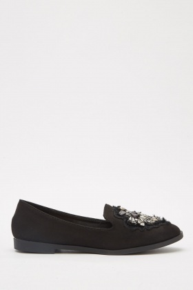 Embellished Faux Suede Loafers