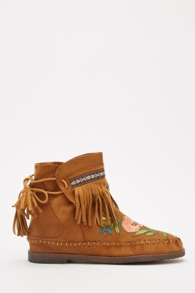 Embroidered Suedette Fringed Boots