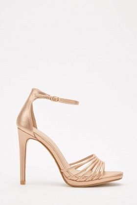 Metallic Bangle Strap Heel Sandals