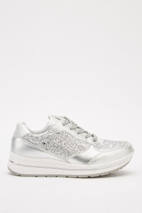 Metallic Glitter Mix Platform Trainers