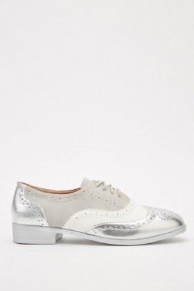 Metallic Lace Up Wingtip Shoes