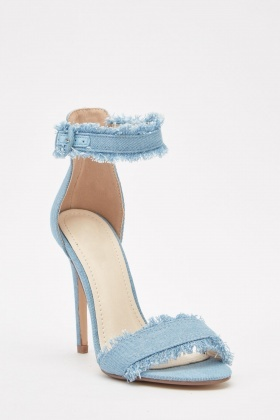 Raw Denim Style Heel Sandals