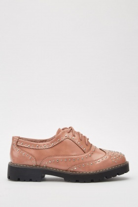 Studded Lace Up Brogue Shoes