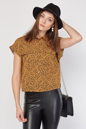 82387a1ef135b Animal Print Short Sleeve Blouse